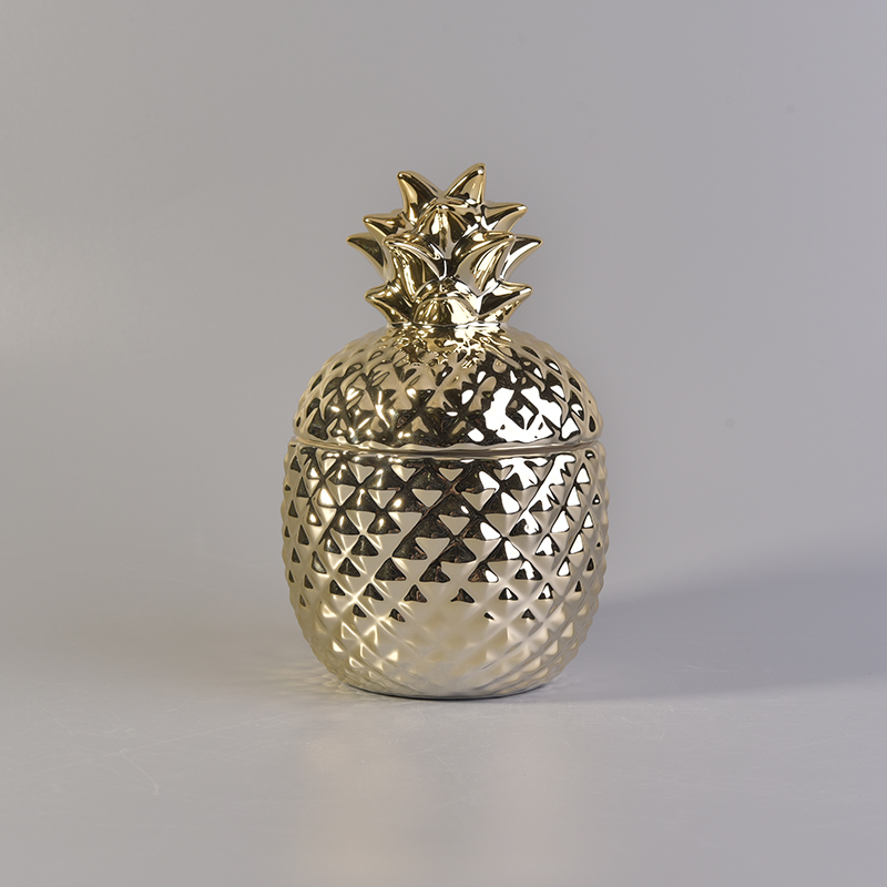 Gold Electroplating Pineapple Ceramic Candle Container