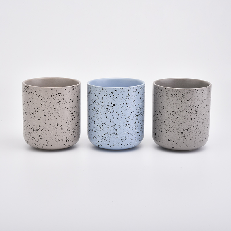Unique Ceramic Candle Vessels With Black Dot Glazed