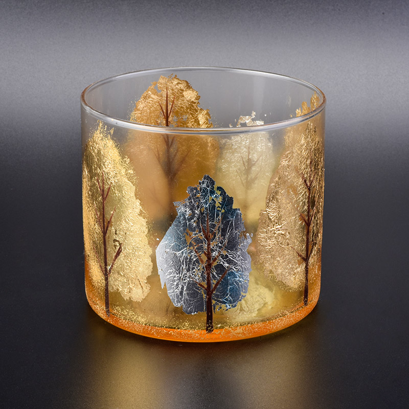 Beautiful Hand painting glass candle holder