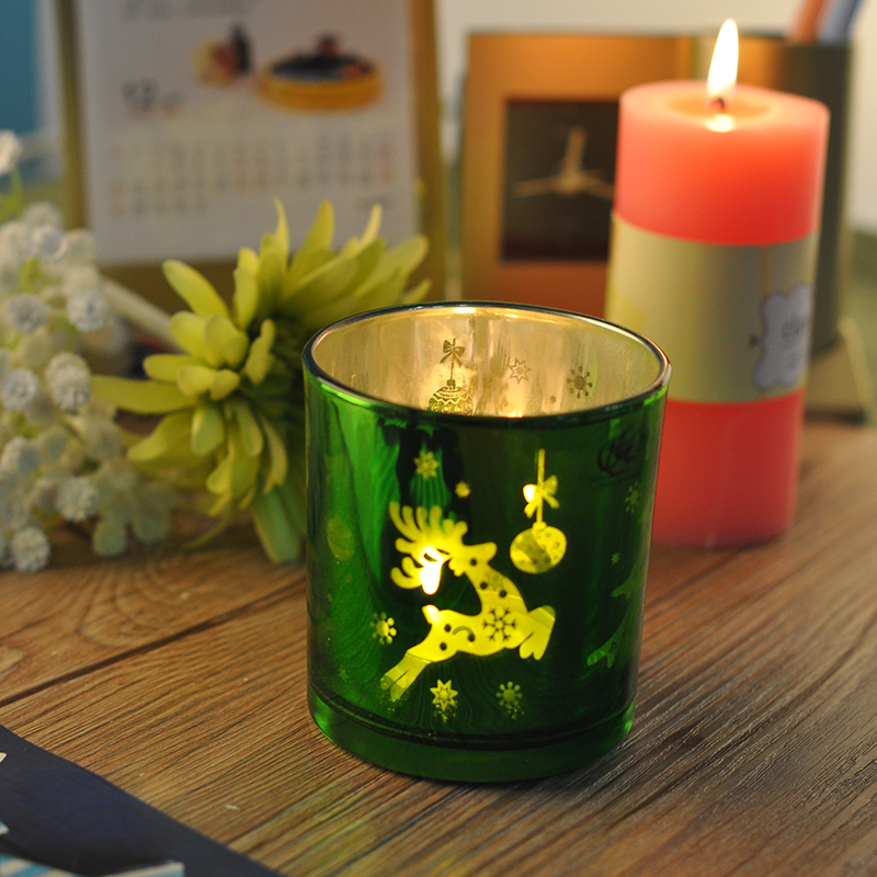 Moose pattern laser-engraved glass candle holder