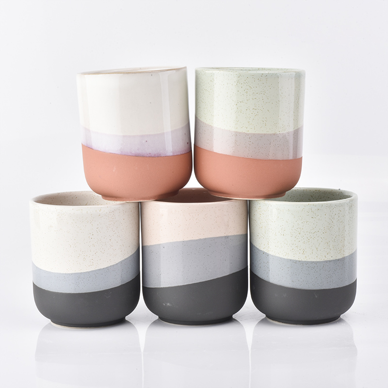 Three color ceramic candle holders
