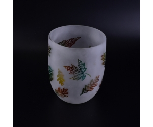 2340ml large round glass candle holder with leaf pattern