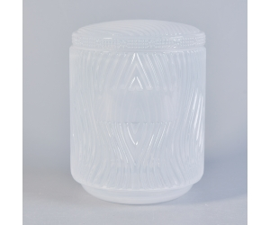 Embossed White Glass Candle Jars With Lids