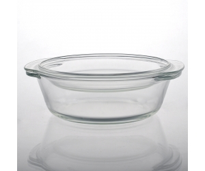 Large glass basin with glass lid