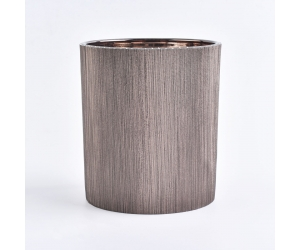 luxury glass candle jar with leather sleeve