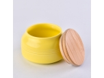 10oz Glazed Belly Ceramic Candle Jars with Bamboo Lids home Decoration Pieces