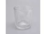 11oz high-white embossed logo customized glass candle holder for home decor
