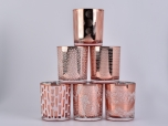 12oz Rose Gold  Glass Candle Holders Home Decoration Pieces