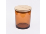 Brown Amber Glass Candle Jar With Wooden Lids