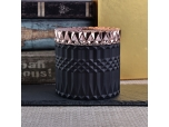Geometric Matte Black Candle Jar Holder With Lids Home Decor