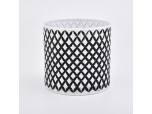 Grid pattern hand-drawing glass candle holders for home decorations