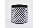 Grid pattern hand-drawing glass candle holders glass candle jar