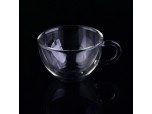 High Quality 150ml Clear double wall glass coffee cup with handle