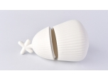 Matte White Stripes Ceramic Candle Holder Set Home Decoration Pieces