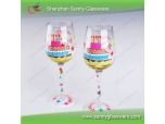 Unique Design Hand Painted Wine Glass