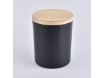 Wholesale 8oz Black Glass Candle Jar With Wooden Lid