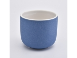 matte blue ceramic candle holders with round bottom